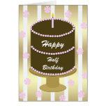 Half Birthday Card -- Pink Birthday Cake