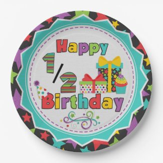 Half Birthday Celebration Paper Plates 9 Inch Paper Plate