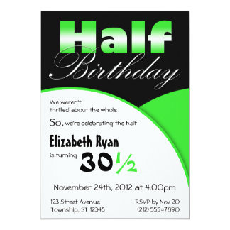 Half-Birthday Lime Green Party Invitations
