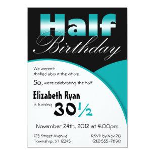 Half birthday invitations zazzle half birthday teal party invitations filmwisefo