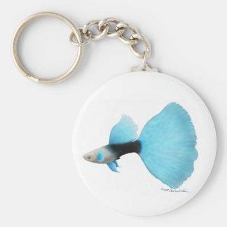 Half Black Blue Fancy Guppy Basic Round Button Keychain