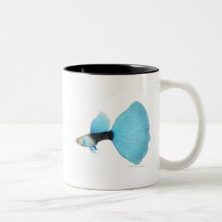 Half Black Blue Fancy Guppy Two-Tone Coffee Mug