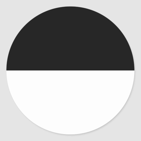 Half Black Classic Round Sticker