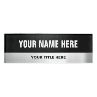 Half Black Half Silver Metal Professional Look Name Tag