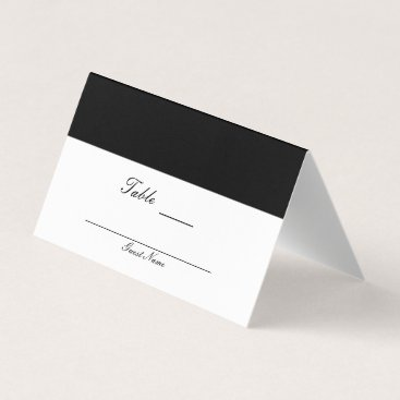 Beach Themed Half Black & White Classy Elegant Table Number Place Card