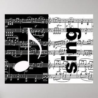 half black/white sing music poster