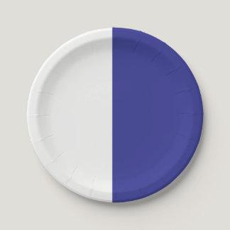Half Blue / Half White Paper Plate