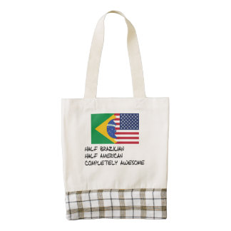 Half Brazilian Completely Awesome Zazzle HEART Tote Bag