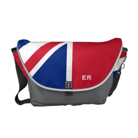 Half British Flag Coal Gray Er Monogram Messenger Courier Bag