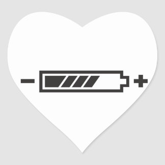HALF CHARGE BATTERY HEART STICKER