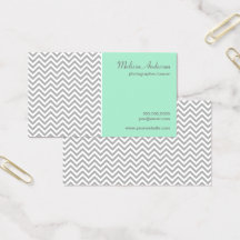 Half Chevron Pattern Gray and Mint Business Card