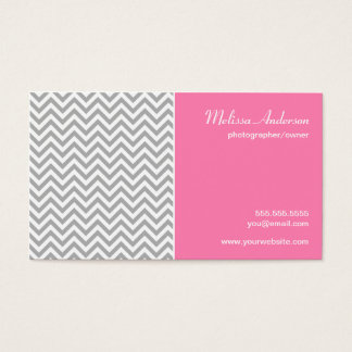Half Chevron Pattern Gray and Pink Business Card