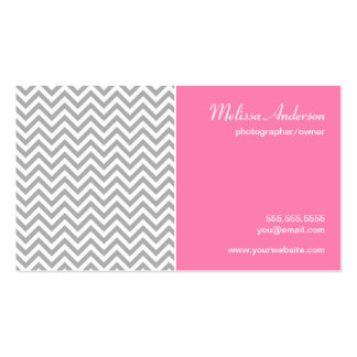 Half Chevron Pattern Gray and Pink Business Card Templates