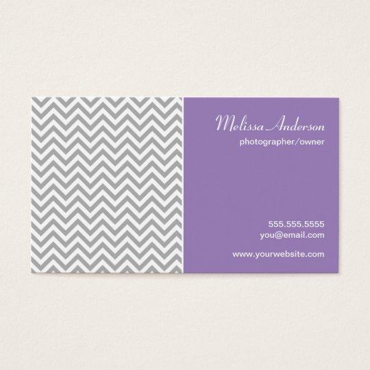 Half Chevron Pattern Gray and Soft Purple Business Card