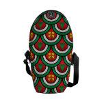 Half circles green red christmas trees presents messenger bag