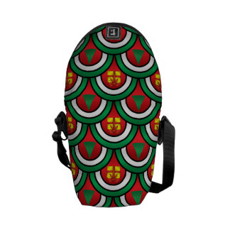 Half circles green red christmas trees presents messenger bag