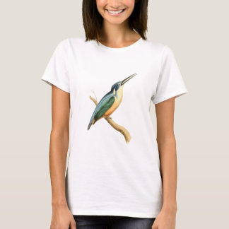 Half-collared Kingsfisher Bird Illustration by Wil T-Shirt