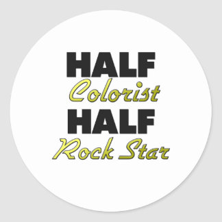 Half Colorist Half Rock Star Classic Round Sticker