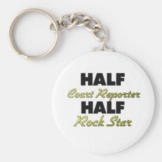 Half Court Reporter Half Rock Star Basic Round Button Keychain