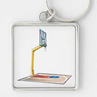 Half Court Silver-Colored Square Keychain
