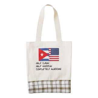 Half Cuban Completely Awesome Zazzle HEART Tote Bag
