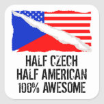 Half Czech Half American Awesome Square Sticker
