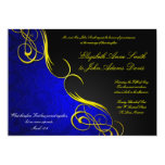 Half Damask Blue/Black Wedding Invitation