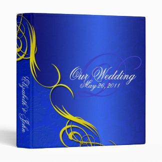 Half Damask Blue Wedding Album 3 Ring Binder