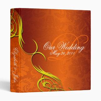 Half Damask Copper Wedding Album 3 Ring Binders