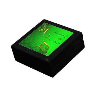 Half Damask Green Keepsake Box