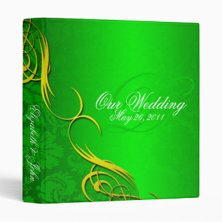 Half Damask Green Wedding Album Vinyl Binders