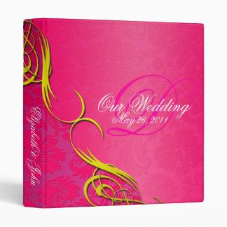 Half Damask Pink Wedding Album 3 Ring Binder