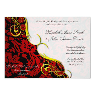 Half Damask Red n Black Wedding Invitation