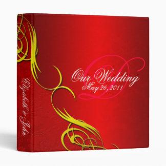 Half Damask Red Wedding Album 3 Ring Binder