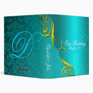 Half Damask Turquoise Wedding Album 3 Ring Binders