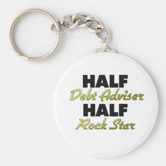 Half Debt Adviser Half Rock Star Basic Round Button Keychain