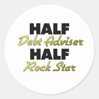 Half Debt Adviser Half Rock Star Classic Round Sticker