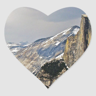 HALF DOME AS SEEN FROM GLACIER POINT IN YOSEMITE HEART STICKER