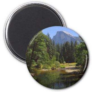Half Dome From Sentinal Bridge Over The Merced Riv 2 Inch Round Magnet