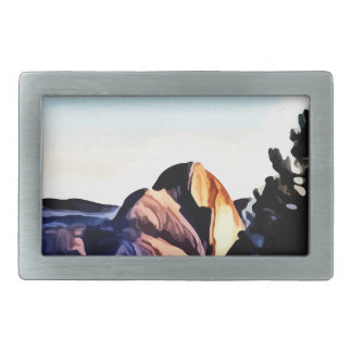 Half Dome Mountains painting Belt Buckles