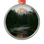 Half Dome Sunset in Yosemite National Park Round Metal Christmas Ornament