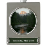 Half Dome Sunset in Yosemite National Park Silver Plated Banner Ornament