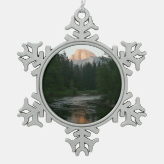 Half Dome Sunset in Yosemite National Park Snowflake Pewter Christmas Ornament