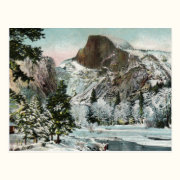 Half Dome, Yosemite in Winter Vintage Postcard