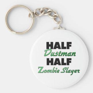 Half Dustman Half Zombie Slayer Basic Round Button Keychain