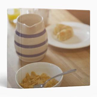 Half eaten breakfast on kitchen table 3 ring binder