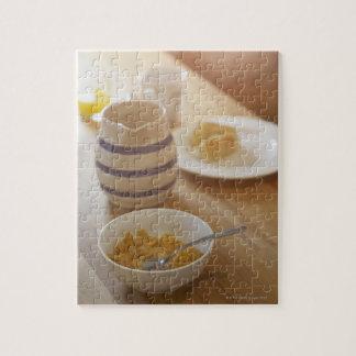 Half eaten breakfast on kitchen table jigsaw puzzles