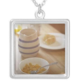 Half eaten breakfast on kitchen table custom necklace