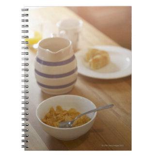 Half eaten breakfast on kitchen table notebook