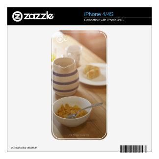 Half eaten breakfast on kitchen table skin for iPhone 4